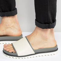 River Island Faux Leather Sliders In Off White