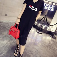 """FILA""Women Casual Fashion Letter Printing Short Sleeve Long Skirt  Casual Wear"