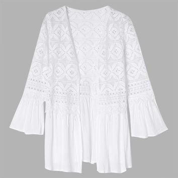 Women Flare Long Sleeve Hollow out Lace Splicing Pure Color Cardigan