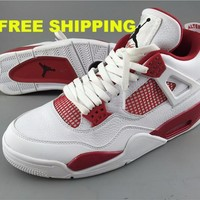 [FREE SHIPPING] AIR JORDAN 4 (WHITE / VARSITY RED ALTERNATE '89) SNEAKER  308497-106