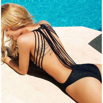 Black Swimsuit Backless Strings