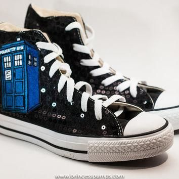 black sequin tardis converse canvas hi top sneaker