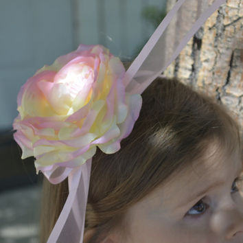 Flower Girl Pink and Pale Yellow Headband