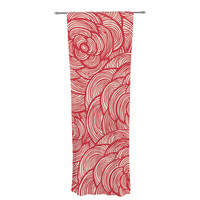 "KESS Original ""Roses"" Pink Red Decorative Sheer Curtain"