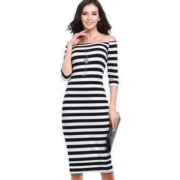 Summer Dress For Party Woman  Stripes  Half Sleeve Knee Length  Casual Off the Shoulder Bodycon Pencil  Dress Push Size