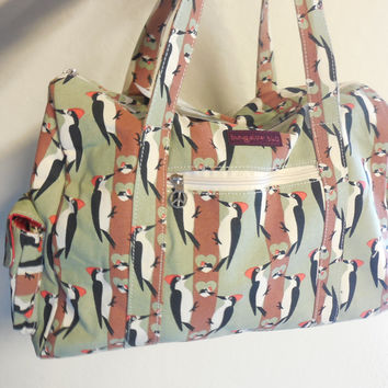 New Design! Bungalow360 Canvas Vegan Gym Bag (Woodpecker)