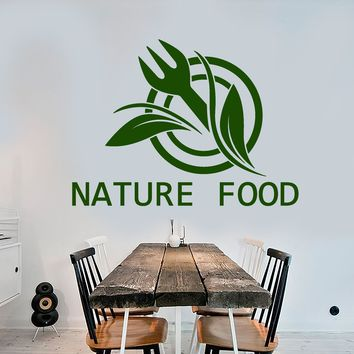 Vinyl Wall Decal Natural Food Logo Word Fork For Cafe Restaurant Stickers (2357ig)