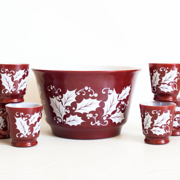 Vintage Hazel Atlas Punch Bowl, Deep Red Maroon Holly Print Christmas Eggnog Bowl and Mugs, 6 Cups
