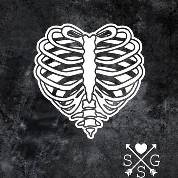 Rib Cage Heart Rib Heart Bone Heart Car Decal Halloween Gothic Skateboard Decal Guitar Decal Yeti Decal