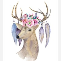 Boho Deer Head Tribal Watercolor Nursery Wall Art Print - Multiple Sizes