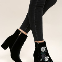 Steven by Steve Madden Brits Black Velvet Embroidered Booties