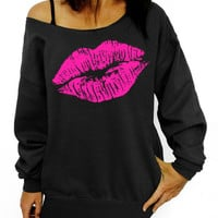 Big Lips Pattern Printed Oblique Collar One Shoulder Sweatshirts
