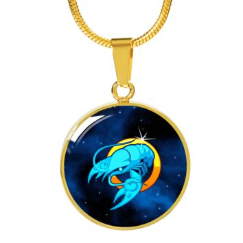 Zodiac Sign Cancer - 18k Gold Finished Luxury Necklace
