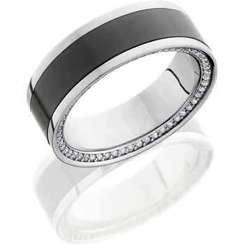 Platinum 8 mm hand crafted flat wedding ring with 5 mm Elysium inlay with eternity-set diamonds