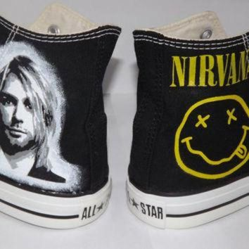 DCKL9 Hand Painted Custom Kurt Cobain Nirvana Converse All Star Hi Black Any Size