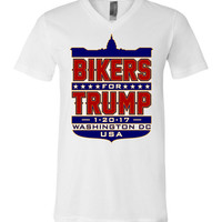Bikers for Trump Full Shield Unisex V-Neck T-Shirt