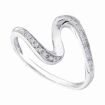 10kt White Gold Women's Round Diamond S Curve Band Ring 1/20 Cttw - FREE Shipping (US/CAN)