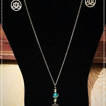 Blue Swirl Lotus Flower Necklace and Earring Set
