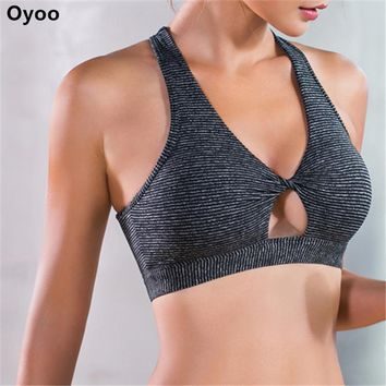 Twist Knotted Stripes Padded Sport Bra