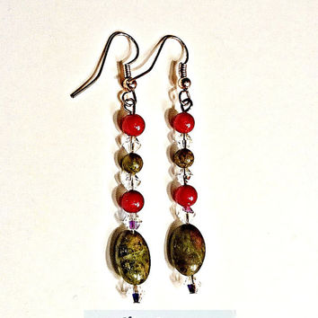 "Earrings: Copper Earwires and Head pins, Agate,  Unakite , Coral & Swarovski Elements ""Warm Comfort""   By ANena Jewelry"