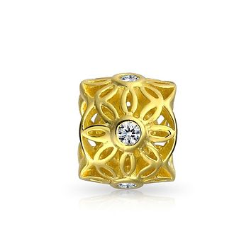 Flower Cutout Filigree CZ Charm Bead For Women 14K Gold Plated 925 Sterling Silver Fits European Bracelet
