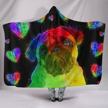 Love Pug Hoodie Blanket for Lovers of Pugs and Dogs