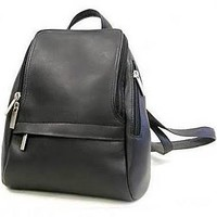 Le Donne Leather U-Zip Mini Backpack; Black