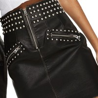 Topshop Amy Studded Faux Leather High Waist Skirt | Nordstrom