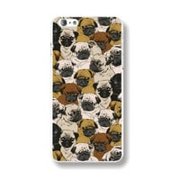 """Transparent Edge Fashion Beautiful Pugs Puppy Dog Collage Hard PC Mobile Phone Cover Case Shell For Apple iPhone 6 6s 4.7"""" Inch"""