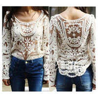 Excellent Style — Embroidered Beige Lace Sheer Top