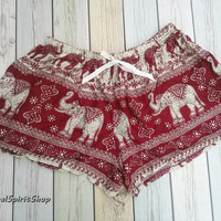 Red Elephants Shorts Print For Beach Summer Clothing Boho Tribal Boxer Aztec Ethnic Ikat Hobo Cloth Tribalspiritshop Gift Men Women