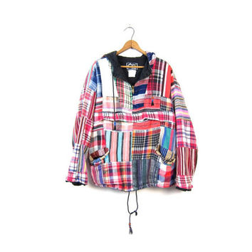Patchwork 80s Tribal Pullover BAJA JACKET Southwestern IKAT Thick Cotton Rastafarian Hoodie Coat Hippie Pouch Sweater Vintage Medium Large