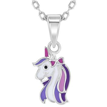 925 Sterling Silver Purple Pink Enamel Unicorn Necklace Pendant Girls Kids 16""