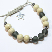 Black recycled glass and wood bead bracelet with hematite