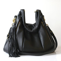 Black Leather bag - OPELLE Lotus Weekender - NEW Oversized leather bag with Zipper Pockets