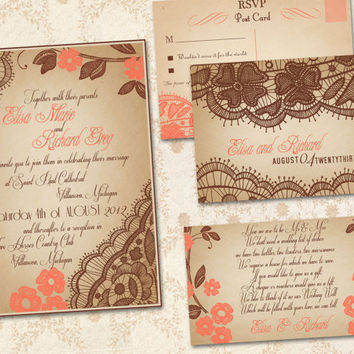 Printable VINTAGE WEDDING INVITATIONS Template Peach by ABandIG