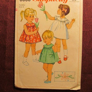 SALE Uncut 1960's Simplicity Sewing Pattern, 6995! Size 4 Toddler/Girl/Sleeveless Sundresses/Panties/Underwear/Flared Blouse/Tops/Flower Tra
