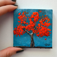 Tiny art, Miniature, Red Tree Miniature Original Oil Painting, Dollhouse Art, American Girl Doll, 3""