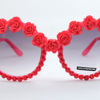 Women's Cute Lovely Summer Style Hot Fashion Fimo Flower Sunglasses = 4672318596