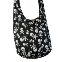 Goth Punk Rock Skull Crossbody Shoulder Hippie Boho Hobo Messenger Bag Purse Small