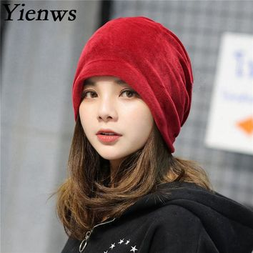 Yienws Bonnet Femme Winter Hats For Women Burgundy Solid Headgear Girl Warm Plush Skullies And Beanies Hat Slouch Cap YIC062