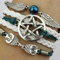 Supernatural bracelet,paganand wiccan,shine pentagram bracelet,wings bracelet,cute owl bracelet,teal wax cord and white braid gift.-Q99