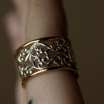 14k gold and sterling silver mixed metal lace filigree ring. luxury jewelry. filigree ring. lace ring. silver ring. gift for her. under 100