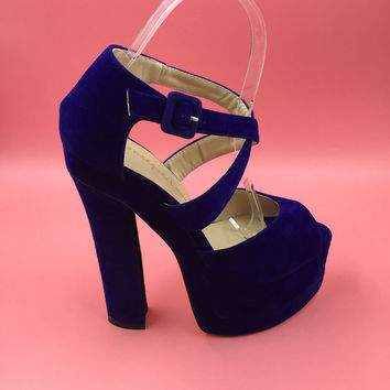 Royal Blue Sandal Women Square Chunky Heels Cross Straps Platform Peep Toe High Heels Sandalia Feminina Block Heel 2017 New Sale