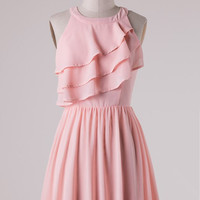 Ruffle Dress - Pink - Ships Friday