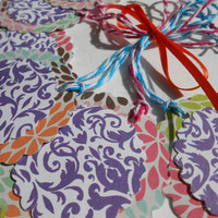 Customizable - Adhesive - Pink, Orange, Green, Blue, Purple, Floral Designed Tags, 2 inch Scalloped Tags - gift tags - Party Favor Tags