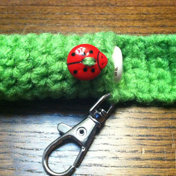 Ladybug Lip Balm Holder, Spring Chapstick Case, Green Lip Balm Cozy, Gifts for Her, Easter, Mother's Day, Lip Balm Keyring