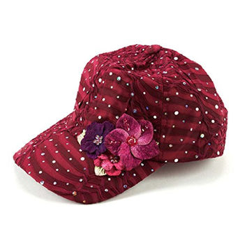 Glitzy Game Flower Sequin Trim Baseball Cap, Maroon with Flowers