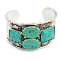 Urban Traveler Tribal Bracelet in Silver/Teal