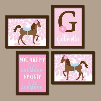 Girl HORSE Wall Art, Pony Girl Bedroom Pictures, Baby Girl Nursery Art HORSE Custom Girl Monogram Name You Are My Sunshine Set of 4 HORSES